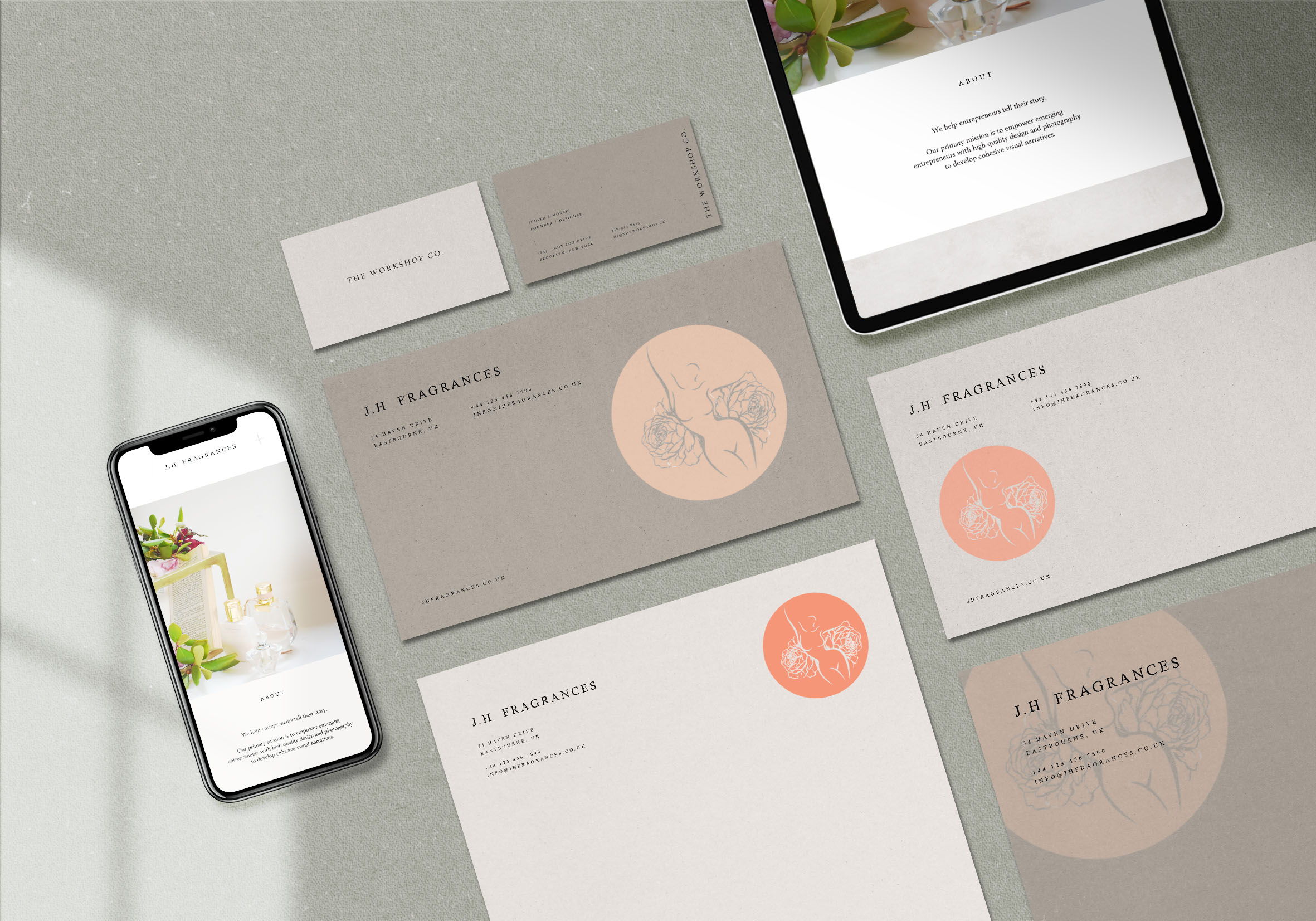 Harlow. design fragrances perfume stationery and devices mock up